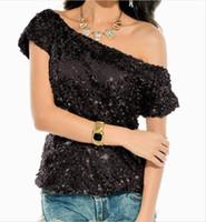 bling camisetas al por mayor-Cakucool Bling lentejuelas llenas camiseta mujeres del verano camisetas brillantes manga corta cuello cuello fuera del hombro Party Club coreano camisetas Femme