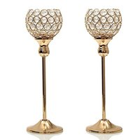 Wholesale mosaic arts for sale - 2pcs cm Tall Crystal Candle Holder Metal Silver Wedding candlestick Party home decor Dinning Table centerpieces candelabra
