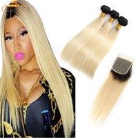 человеческие волосы закрытия 613 оптовых-Bemiss Hair® 1b 613 Светлые прямые человеческие волосы 3 пучка с укупоркой Необработанные бразильские пучки натуральных волос Прямые удлинители