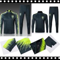 Wholesale grey uniform pants - Best 2018 2019 quality jersey Brazil training suits 18 19 Uniforms shirts Chandal NEYMAR JR tracksuits Survetement long sleeve tight pants