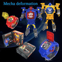 Wholesale abs watches resale online - Hot Action figures selling toy Deformation of the Robot watch electronic display creative deformation toy kong children deformation watch
