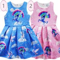 Wholesale china dresses wholesale free shipping - Girls Unicorn Skirt Cartoon Dresses 2018 Summer Girls Skirt Kids 100~140 cm Made in China Free Shipping