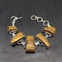 Wholesale 925 unique link chain resale online - Elegant Unique Fashion Gold Tigers Eye Sterling Silver Women Links Chain Bracelet Inch TF668