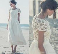 Wholesale Sheer Ankle Length Robe - Short Beach Bohemian 2017 Wedding Dresses Ankle Length Lace Chiffon Cap Sleeves Tea Length Bridal Gowns robe de mariee