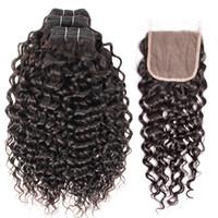 cierre de encaje de 26 pulgadas al por mayor-Kisshair la onda de agua del pelo 3 paquetes con el color natural del cordón de cierre brasileño de la Virgen del pelo humano de lotes 10-26 pulgadas