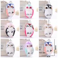 Wholesale plush phone holders resale online - 8Colors x8cm Fluffy Owl Cartoon Keychain Plush Phone Pendant Women Cute Key Ring Holder Faux Animal Fur Key Chains Backpack Keyring AAA680