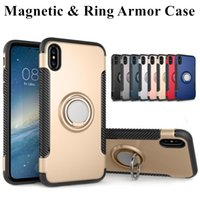 Wholesale Ring Backs - Hybrid 2-in-1 Armor Case for iPhone X 8 7 6 6S Plus ShockProof Case with 360° Ring Stand Holder Magnetic Back Cover