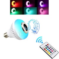 Wholesale smart rgb led - Hot Sales Wireless 12W Power E27 LED rgb Bluetooth Speaker Bulb Light Lamp Music Playing & RGB Lighting with Remote Control
