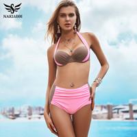 Wholesale high waisted sexy swimwear - 2018 New Sexy Bikinis Women Swimsuit High Waisted Bathing Suits Swim Halter Push Up Bikini Set Plus Size Swimwear 4XL