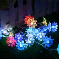 ingrosso alberi decorativi bianchi-50 luci a stringa a led Luci a fata natalizie a batteria Warm White Lotus Flower Decorative Indoor Outdoor Tree Party Patio