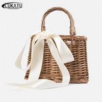 ingrosso progettista della borsa di paglia-LUKATU Vintage Style Handbag Women Summer Beach Bag Box a spalla in paglia Borse in rattan Designer borse bolsa feminina