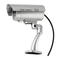gözü kırp toptan satış-Gümüş Su Geçirmez CCTV Yanlış Emulational Açık Sahte Kukla Güvenlik Kamera IR Kablosuz Yanıp Sönen Kırmızı LED ile Dekore DPT_21H
