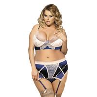 tanga große größe groihandel-Plus Big Size Sexy Lace Stickerei Satin BH Top und Abnehmen Körperformung Strumpfband und Tanga Erotic Fantasy Dessous Set