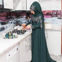 Wholesale formal long dress hijab for sale - Group buy 2017 Islamic Hijab Muslim Formal Dresses Evening Wear K17 Long Sleeves Hunter Green Chiffon Lace Appliques Arabic Prom Gown Vestidos