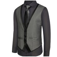 ingrosso gli uomini vestono vestiti indietro-Nuovo arrivo Mens Suit Vest V Neck Contrast Colour Slim Fit Dress Gilet Uomo Indietro Strappy Gilet