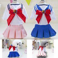 köpek giysileri çizgileri toptan satış-Yeni Küçük köpek Etek elbise Donanma Tarzı pet giysi Teddy Şerit giysi giyim kostüm sevimli köpek prenses elbise evcil hayvan giysileri Üniforma PD041