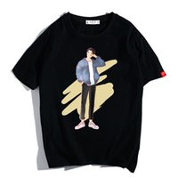 ingrosso alti ragazzo-Moda Uomo Cartoon Boy Tshirt Manica corta O Collo Estate Style High Street Tees Big Size Alta qualità 4 colori S-4XL Casual Top