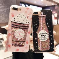 Wholesale Drink Phone Case - Charm Drink Bottle Dynamic Glitter Quicksand Phone Case Shockproof Cellphone Cases for IPhone X 8 8plus 6 6s 6plus 6splus 7 7plus