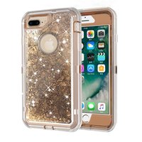Wholesale Phone Dust Covers - 3in1 Defender Phone Case Liquid Glitter Quicksand Back Cover Phone Case with Dust Plug for iPhone 7 7plus 8 8plus