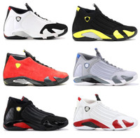 Wholesale cool canvas art - High Quality 14 14s Black Toe Fusion Varsity Red Suede Thunder Men Basketball Shoes Cool Grey DMP Candy Cane Sneakers With Shoes Box