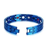 Wholesale chains germanium for sale - Group buy Blue Bracelet Men Heavy Quality Cool Hand Chain Energy Health Germanium Magnetic Bracelet Men Stainless Steel Bracelets