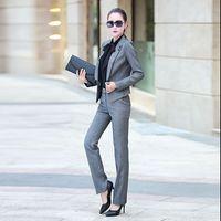 серые женские юбки костюмы оптовых-2016 New Arrival Formal Women Pant Suits Hot Sale Office Ladies Business Suit Black Grey Workwear Suit with Skirt Pant Plus Size