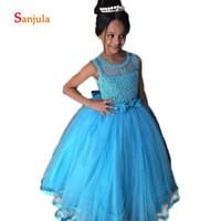 mavi ışıltılı kızlar elbiseli toptan satış-Mavi Tül Çocuk Elbise Sparkle İnciler Kabarık Çiçek Kız Elbise O-Boyun Yay Bel Çocuklar için Sevimli Düğün Parti Elbise D94