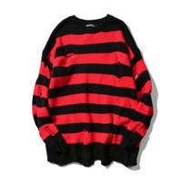 camisola longa camisola rasga venda por atacado-Moda Rasgado Stripe Malha Blusas Homens Hip Hop Buraco Ocasional Pullover Camisola Moda Masculina Solta Camisola de Manga Longa