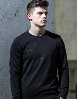 Discount men winter long shirts - Wholesale men's air layer sweater sleeve Slim printing round neck men's tide T-shirt Autumn and winter style