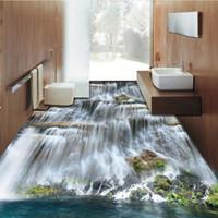 роспись для гостиной оптовых-Free Shipping Waterfalls stone 3D floor painting thickened non-slip bathroom living room kitchen office study flooring mural
