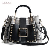 хаундстут тотализаторов оптовых-Women Bag Fashion Handbag Houndstooth Vintage Lady Totes Bag High Quality Wool  Women's Shoulder Messenger Bags