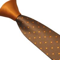 ingrosso cravatta di polka marrone-Cravatta da uomo LAMMULIN a contrasto in oro marrone con cravatta in jacquard a pois oro e cravatta in microfibra 6cm
