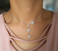 ingrosso y fascini-la collana del choker di fascino della stella di nordstar Y forma le donne eleganti di modo chocker chocker monili superiori della stella della cz di qualità superiore