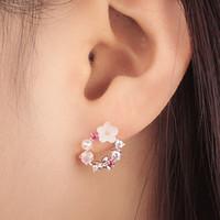anneaux d'or pour les filles achat en gros de-Boucle d'oreille Sweet Flower Ear rings or pour femme Nail Ornaments Girl Heart Perle Bow Garland boucles d'oreilles avec breloques en cristal