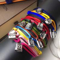 braceletes de corda para mulheres venda por atacado-Mulheres e homem corda artesanal com bloqueio de prata pulseira de charme de titânio de aço inoxidável muitas cores corda jóias drop shipping