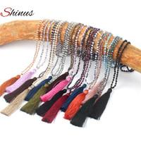 perlen handgemachte aussage halskette großhandel-Shinus Halskette Statement Collier Maxi Schmuck Frauen Halsketten Quaste Böhmischen Perlen Kristall Perlen Handgemachte Anhänger Trendy