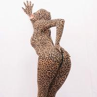 leopard lycra passt großhandel-LinvMe Unisex Lycra Sexy Leopard Zentai Ganz offen mit Augen Mund voller Body neue zweite Haut Anzug
