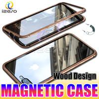 étuis en métal pour téléphone portable iphone achat en gros de-Conception de bois Cas de téléphone à panneau arrière en verre trempé à adsorption magnétique pour iPhone XS X 8 7 Plus cas d'aimant Couverture de téléphone portable de luxe