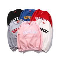 Wholesale hood hoodies - 6colors NO CAP supereme Long sleeve embroidery and velvet padded sup hood Sweatshirts Cute Boyfriend Style Harajuku thin Hoodies wholesale