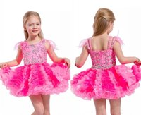 gefiederte kleine mädchenkleider großhandel-Nette kurze Mädchen Festzug Kleider mit Federn auf den Schultern kleines Mädchen Cupcake Rock Baby kurze Kleider für Geburtstagsparty