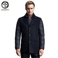 erkekler iş parkı toptan satış-Asesmay Marka Giyim En Kaliteli Kış Parka Sıcak Ceket Erkekler Aşağı Ceket Iş Tarzı Palto Giyim Kalın Yün Ceket