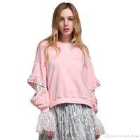 Wholesale Korean Sweatshirts For Women - 2018 Korean Lace Beading Long Sleeve Female Sweatshirts Hoodies for Women's Pullover Clothes Korean Pink Fashion