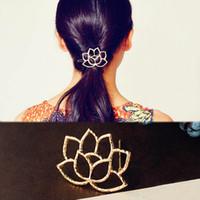 ingrosso fiori di capelli di nozze-10 pezzi moda donna accessori per capelli loto stile retrò forcina per capelli copricapo fiore accessori per capelli regalo di natale matrimonio