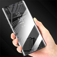 Wholesale Galaxy Note Flip Covers - For Samsung Galaxy note 8 case Luxury Plating Mirror Smart flip Cover For Samsung s9 s8 iPhone x 7 8 6s 6 Plus