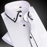 siyah beyaz yakalı elbise toptan satış-Erkek Kısa Kollu Çift Katmanlı Yaka Siyah Boru Elbise Gömlek ile Beyaz Yaz Akıllı Casual Slim-fit İnce Dimi Erkek Gömlek