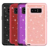 Wholesale galaxy light phone cases online - For Samsung Note Case in1 Glitter Bling Soft TPU Hard PC Back Cover Phone Case for Samsung Galaxy Note