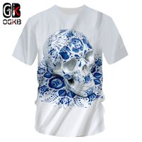 camiseta de los hombres ocasionales al por mayor-OGKB Camisetas Hombre Moda Manga Corta Cráneos 3D Camiseta Impreso Azul Cráneos Hip Hop Plus Tamaño 5XL 6XL Hombre Disfraz Verano