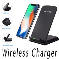 Wholesale note mobile stand for sale - Group buy 2 Coils Qi Fast Charger Wireless Charger Stand Pad For iPhone X Plus Samsung Galaxy Note S7 S6 Edge Plus Mobile Phone