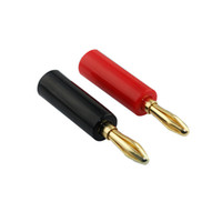 conector banana de oro de 4mm al por mayor-4mm Audio Speaker Screw Banana Converter Placa de oro Banana Plug Audio Jack Conectores Converter Venta al por mayor Envío de la gota