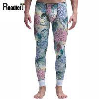 Wholesale Thin Elastic Underwear - Mens classical printing pattern thermal underwear Men sexy long johns thin elastic pants men warm legging underwear sleepwear